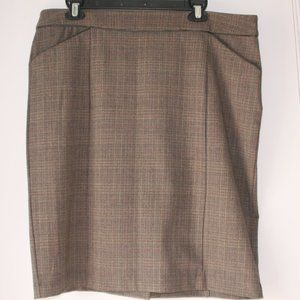 Brown Plaid Skirt with Pockets